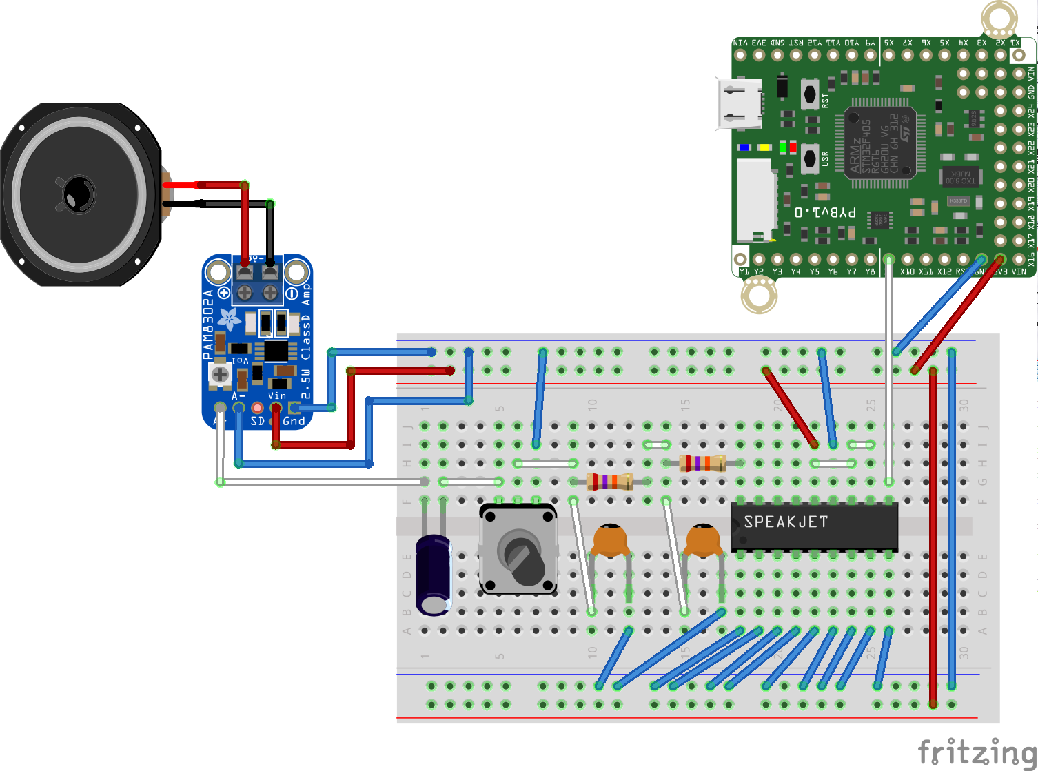 Will This Work Speakjet Voice Synth Wiring Micropython Forum Synthesizer Diagram I Made An Attempt To Follow The Circuit On Spec Sheet Which Is Set Up Take Ttl Data And Route That Audio Amp